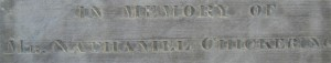 Engraving from Nathaniel Chickering's gravestone in Dover, MA.