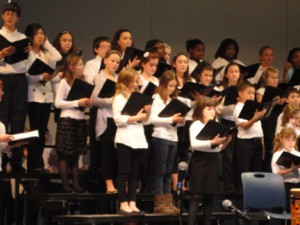 Students singing at their annual winter concert.