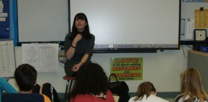 Jacqueline Davies talking to fifth grade students about writing.