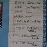 Sample of a daily class schedule