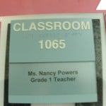 Image of the classroom sign outside Ms Powers' room.