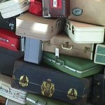 Picture of luggage which is part of the sculpture at the Sacramento CA Airport.