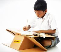 Image of elementary student in India using the Cardboard Help Desk.
