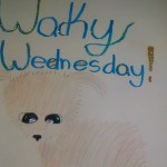 A poster to promote Wacky Wednesday with a drawing of a small dog because all donations go to the animal shelter.
