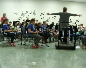 Mrs. Barry conducting the 4th grade band.