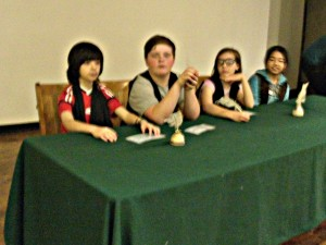 Picture of 4 student selectmen at our mock town meeting regarding schooling for the Irish immigrant children.