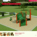 Image of proposed playground showing balance beam, tunnel and chin-up bar.