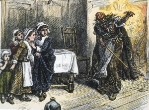 Tituba the slave is telling stories to two young girls who seem to be scared