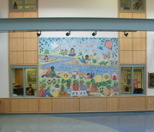 "Image of mosaic mural in the lobby with the theme ""Read like a river."""