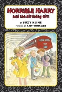 Image of the book cover of Suzy Kline's new book: Horrible Harry and the Birthday Girl