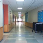Look down the 4th and 5th grade classrooms' hallway. 5 classrooms of each grade.