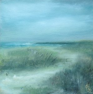 painting of a path through the grassy dunes on Cape Cod.